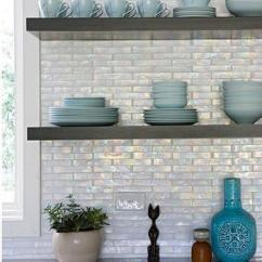 Brick Backsplash In Kitchen Cabinet Makers Iridescent Tile Design Ideas