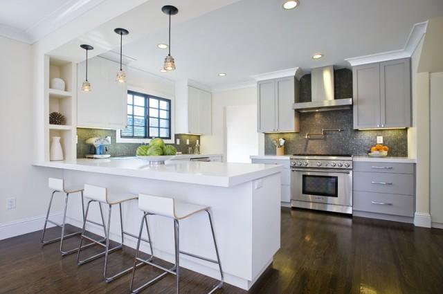 Gray Shaker Cabinets  Contemporary  kitchen  Amoroso Design