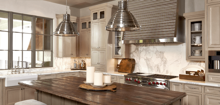 distressed kitchen island butcher block design online calcutta ora marble backsplash - transitional ...