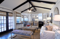 Black Wood Beams - Transitional - living room - Cote de Texas