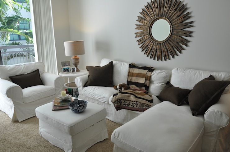 cote chic sofa designer chairs gold sunburst mirror - transitional living room ...