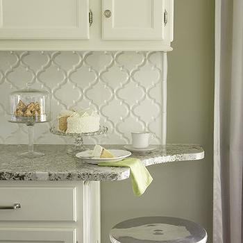 arabesque tile glossy white design ideas