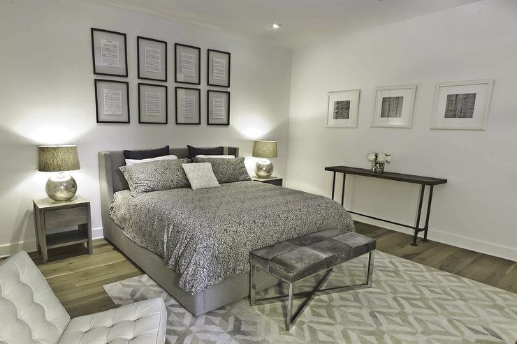 Silver Bedding Contemporary Bedroom Benjamin Moore