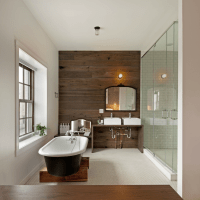 Wood Plank Accent Wall - Contemporary - bathroom - Anthony ...