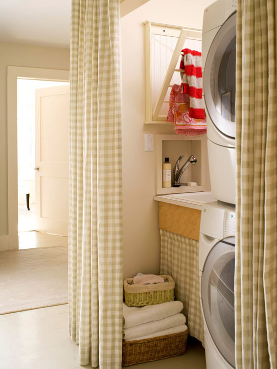 Gingham Curtains  Cottage  laundry room  BHG