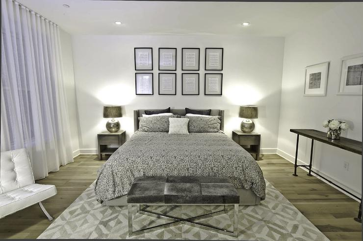 Silver Bedding  Contemporary  bedroom  Benjamin Moore Decorators white  Marie Burgos Design