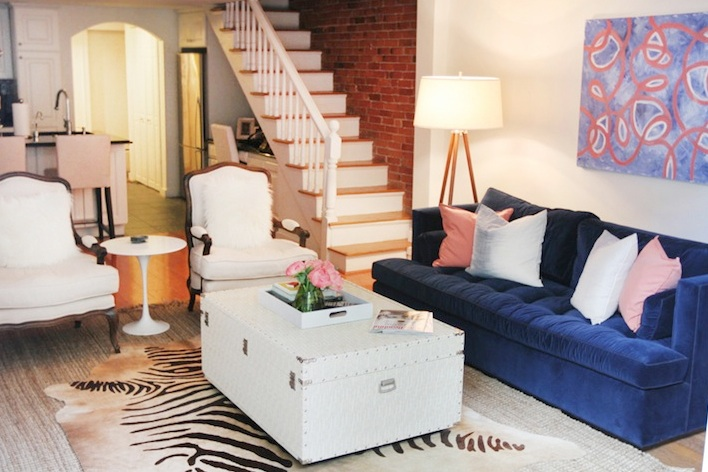 living room paint ideas blue couch small brown leather sofa velvet - contemporary the every girl