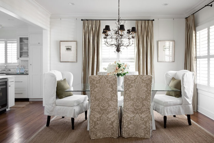 Damask Dining Chairs  Traditional  dining room  Heather