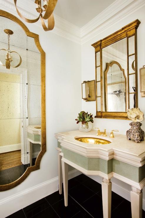 Gold French Mirror  French  bathroom  J Hirsch Interior Design