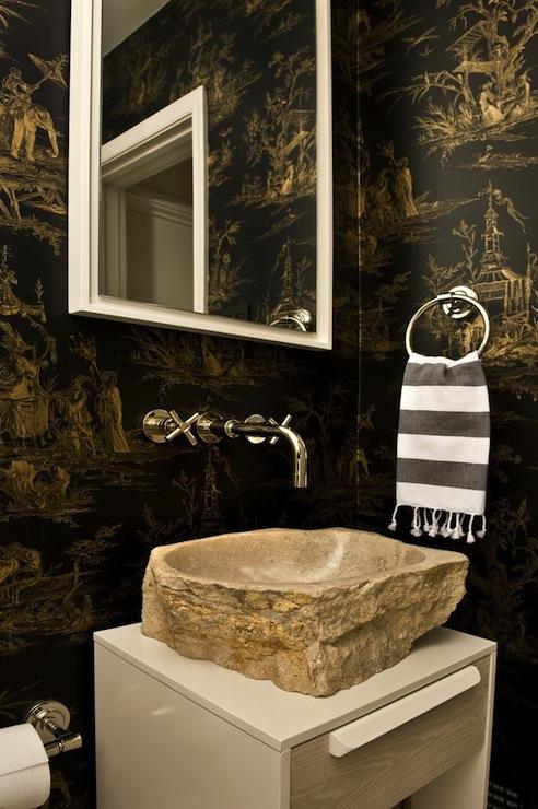Stone Vessel Sink  Eclectic  bathroom  Huntley  Company