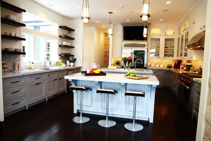 Light Gray Kitchen Cabinets  Contemporary  kitchen  Jeff Lewis Design