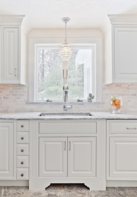 Chandelier over Sink  Traditional  kitchen  B and G Cabinet
