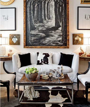 living rooms - eclectic art gallery white slipcover sofa black white pillows black white cowhide rug industrial coffee table  Classic Remix -