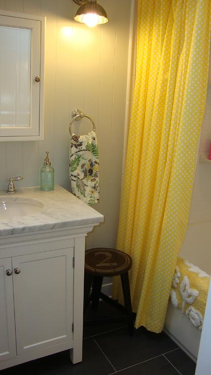 Yellow Shower Curtain  Cottage  bathroom  Benjamin