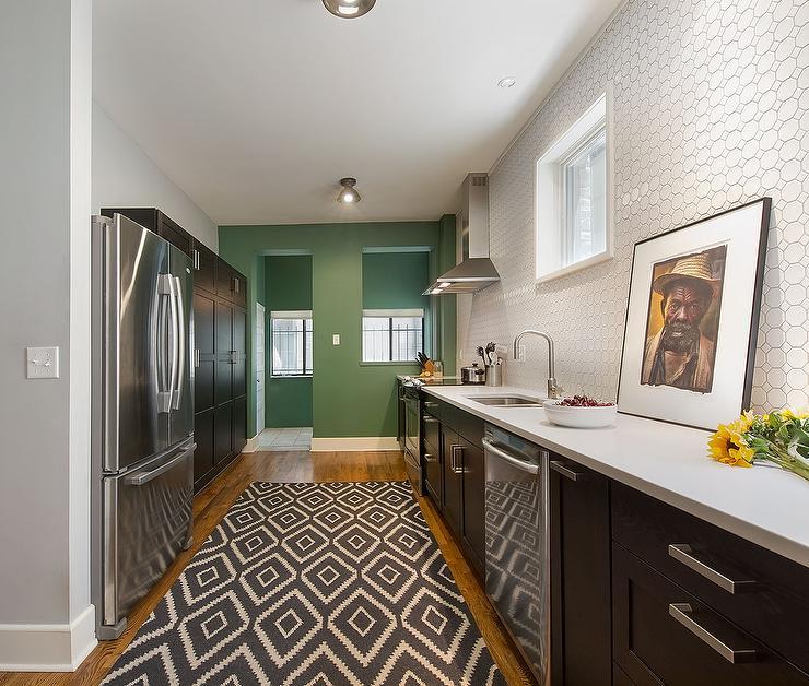 Black Beadboard Wallpaper White Hex Tile Backsplash Eclectic Kitchen Benjamin