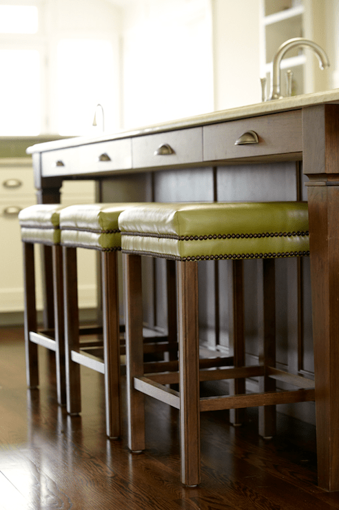 Green Leather Bar Stools  Transitional  kitchen