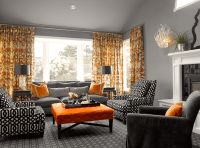Orange and Gray Curtains - Contemporary - living room ...