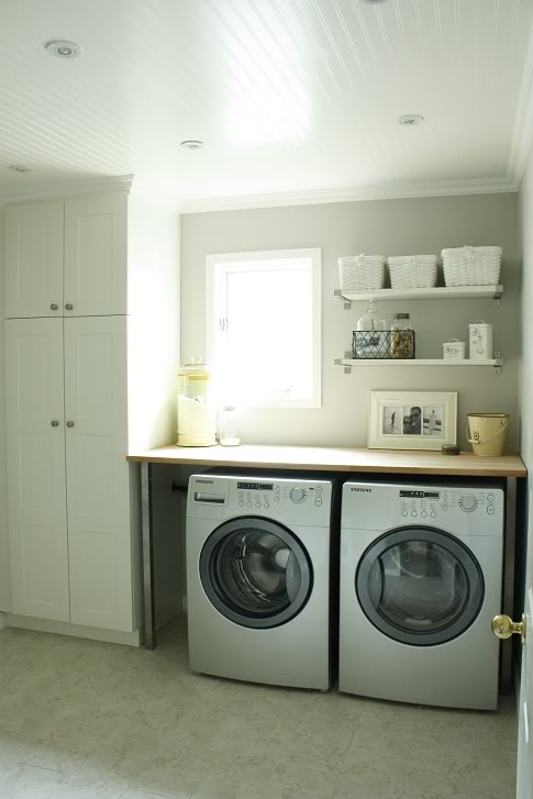 Gray Country Laundry Rooms Design Ideas