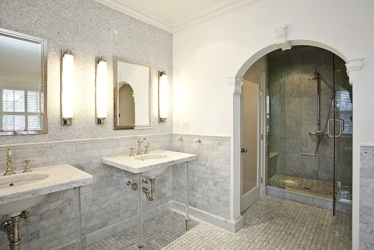 Frosted Glass Door  Transitional  bathroom  Pricey Pads