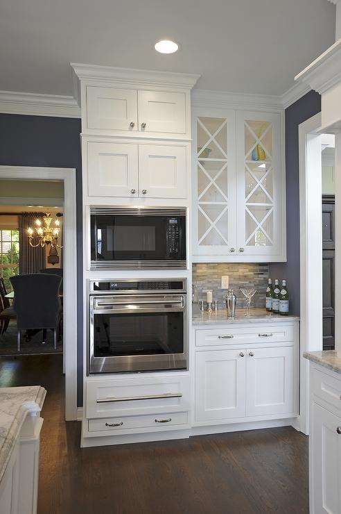 Alpine White Granite Countertop Transitional Kitchen Sherwin Williams SW6243 Distance J