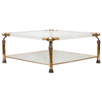 French Brass, Lucite, and Glass Coffee Table