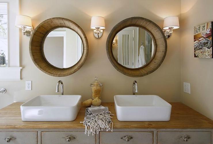 Wood Barrel Mirrors  Cottage  bathroom  Maeves Way