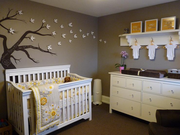 Baby Girl Nursery Pink Wallpaper Yellow And Gray Nursery Contemporary Nursery