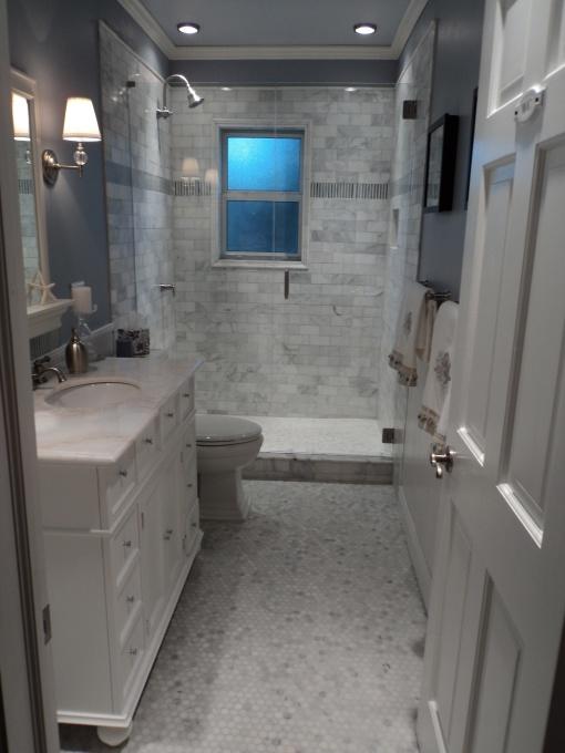 Carrara Marble Hex Tile Floor  Contemporary  bathroom