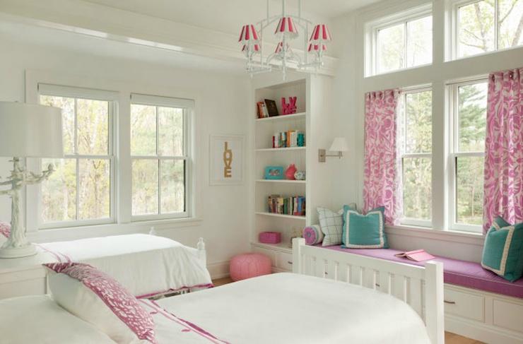 Built In Window Seat  Transitional  girls room  Liz Caan Interiors