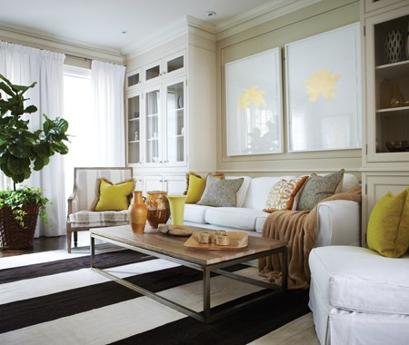 white slipcovered sofa living room yellow chairs for accents - contemporary house & home