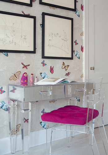 acrylic chairs with cushions portable chair canopy and footrest lucite vanity cheetah cushion design ideas amazing girl s room mirrored desk legs fuchsia tufted farfalla wallpaper by nina campbell