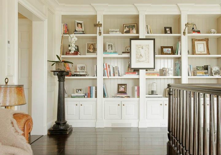Built In Bookshelves Transitional Entrance Foyer