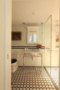 Mosaic Daisy Tile Floor - Mediterranean - bathroom - Liz ...