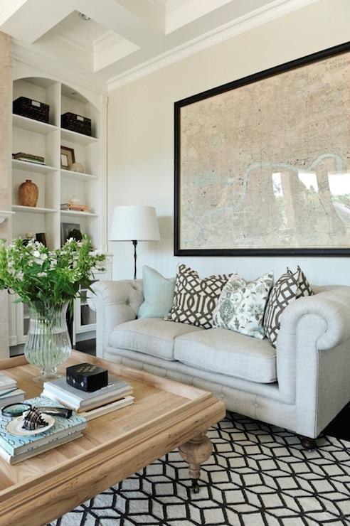 White Chesterfield Sofa  Mediterranean  living room