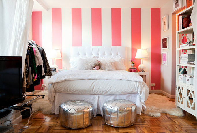 White and Pink Striped Wall  Contemporary  bedroom