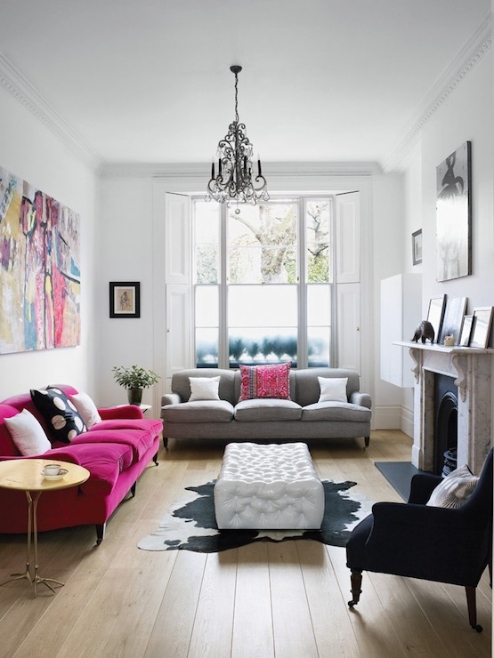 Hot Pink Sofa  Eclectic  living room  Harriet Anstruther