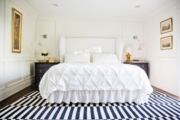 gold and white master bedroom White Upholstered Headboard - Contemporary - bedroom - Benjamin Moore White Dove - White & Gold