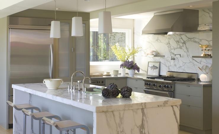 Calcutta Marble Island Contemporary Kitchen Ken Linsteadt