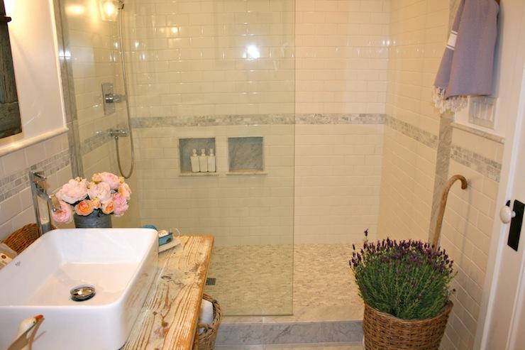 White Shower Tiles  Cottage  bathroom  The Polished Pebble