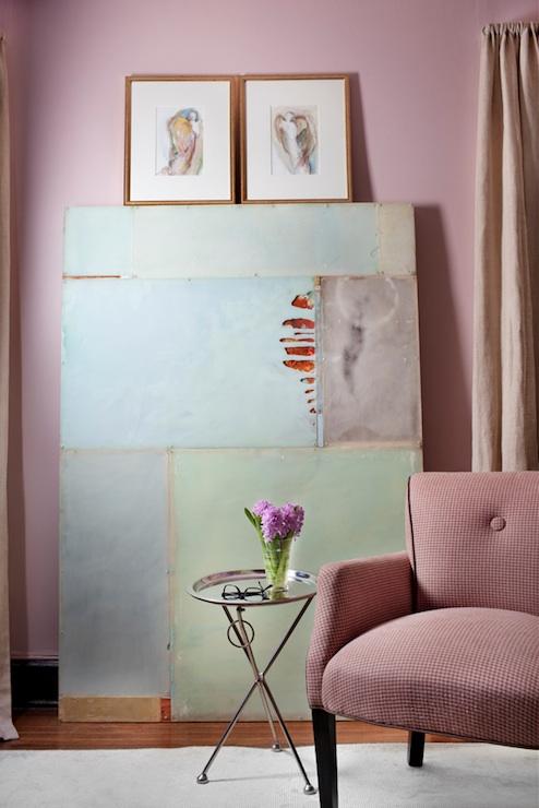 Blush Pink Walls  Eclectic  living room  Ralph Lauren