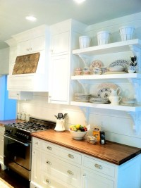 White Kitchen Cabinets with Butcher Block Countertops ...