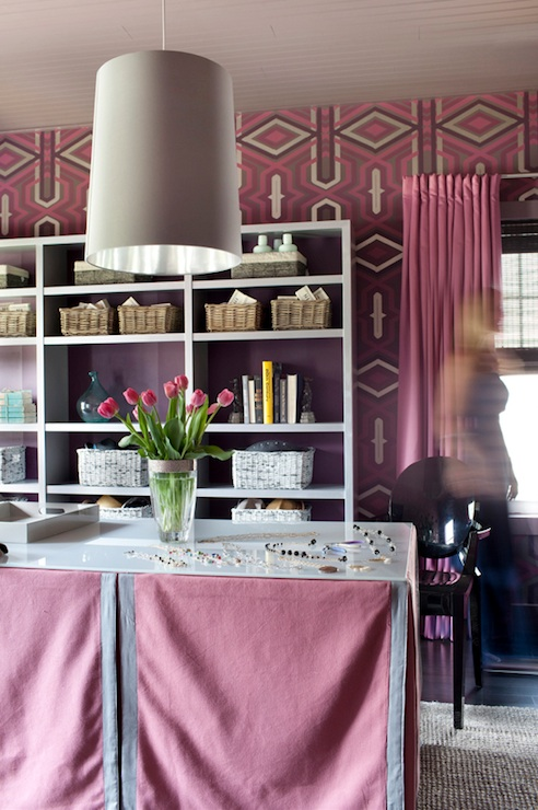 Purple And Pink Office Contemporary Den Library Office