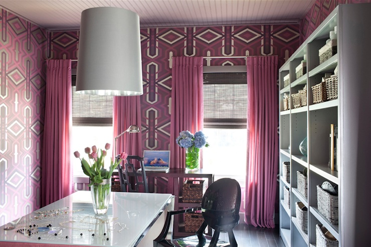 Pink Drapes  Contemporary  denlibraryoffice  Decor Demon