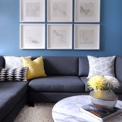Light Gray Fabric Sectional Sofa Furniture Living Room Marble Top Coffee Table - Contemporary ...
