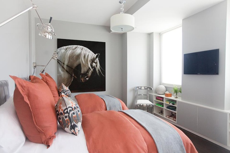 Coral and Gray Bedroom  Contemporary  girls room