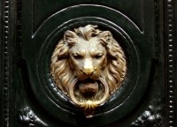 Lion Door Knocker - Transitional - home exterior - Carlyle ...
