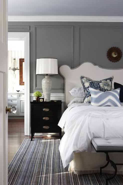 Studded Headboard  Transitional  bedroom  Para Paints