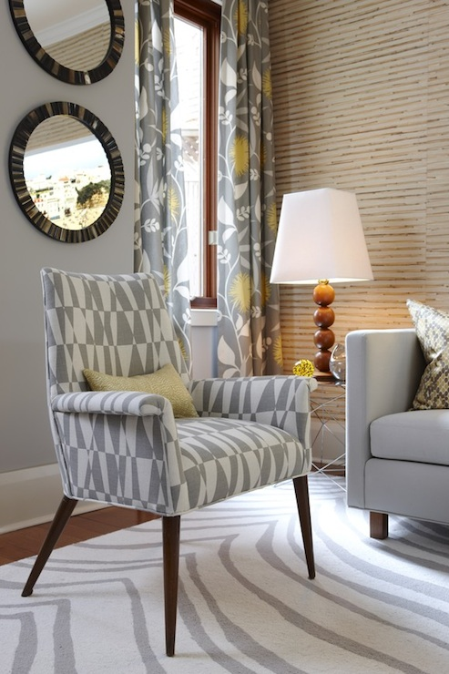 Gray and Yellow Curtains  Contemporary  living room