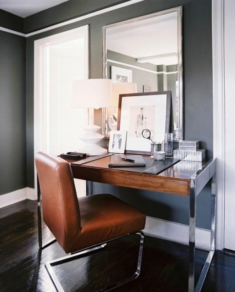 dark grey home office Dark Gray Walls Design Ideas