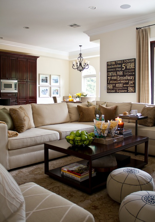 Beige Sectional  Transitional  living room  ASD